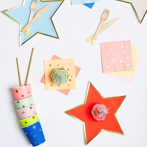 Χρωματιστές Χαρτοπετσέτες Με Χρυσά Αστέρια - Jazzy Star Napkins 16pcs Meri Meri