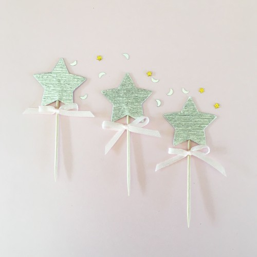 Cupcake Toppers-Ασημί Αστέρια Με Ροζ Φιογκάκι-Hand Made by Ministry Of Art (6pcs)