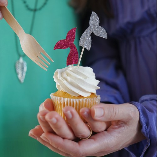 Cupcake Toppers Γκλίτερ Ουρές Γοργόνας Hand Made by Ministry Of Art (8pcs)
