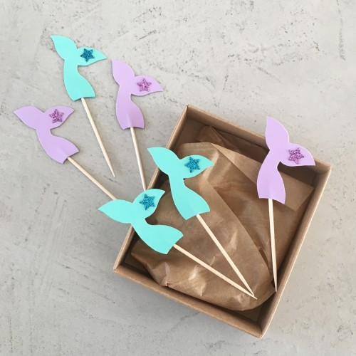 Cupcake Toppers Ουρές Γοργόνας Hand Made by Ministry Of Art (6pcs)