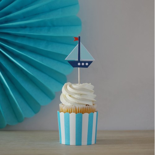 Cupcake Toppers Θαλασσινό Θέμα Καράβι Hand Made by Ministry Of Art (6pcs)