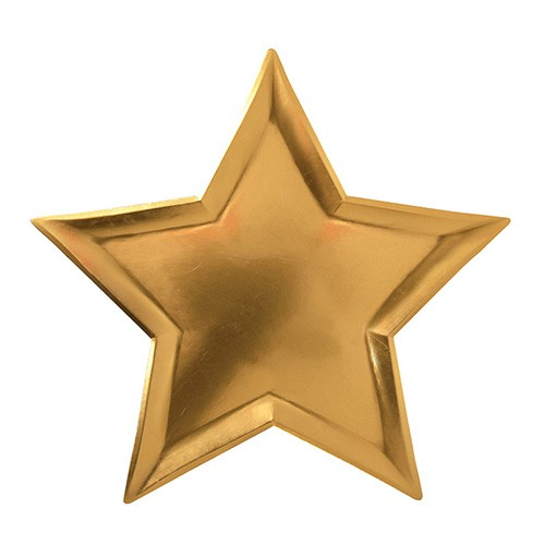 Χάρτινα Πιάτα Χρυσά Αστέρια 8pcs