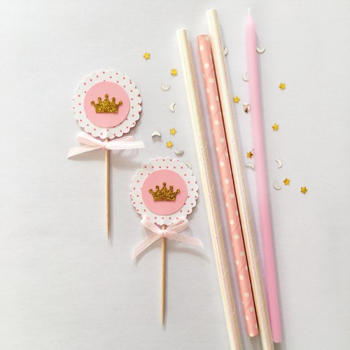 Cupcake Toppers Χρυσά Στέμματα Με Ροζ Λευκό Πουά-Hand Made by Ministry Of Art 6pcs
