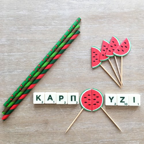 Cupcake Toppers Καρπούζι Hand Made by Ministry Of Art (6pcs)