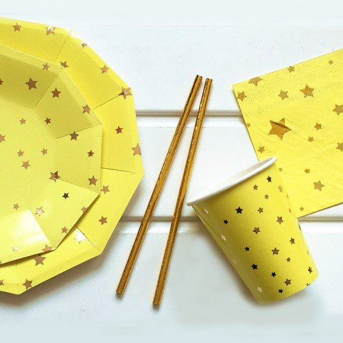 Χάρτινα Ποτήρια Κίτρινα Με Χρυσά Αστέρια 8pcs
