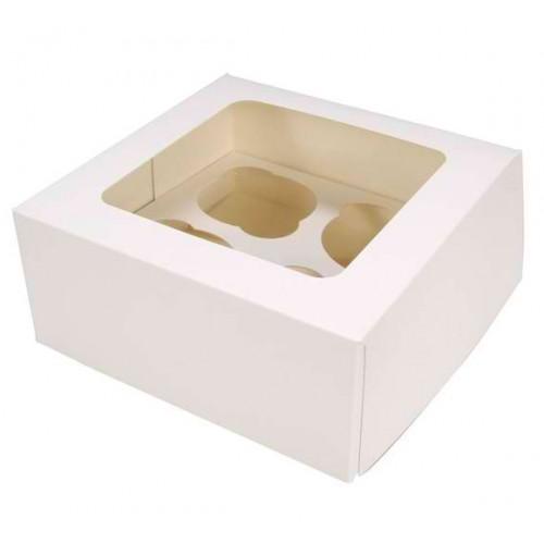 Λευκό Κουτί Cupcake/Muffin 4 θέσεων