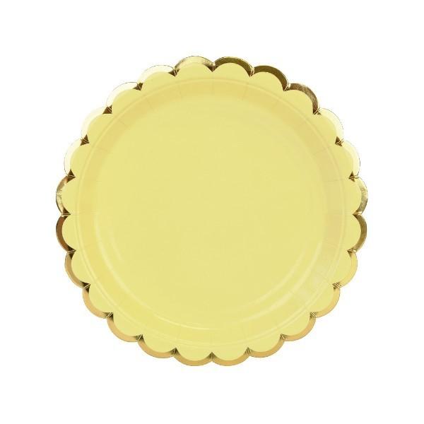 c7cebe5571f Στρογγυλά Πιάτα Γλυκού Κίτρινο Παστέλ Με Χρυσό (8pcs) | party alphabet