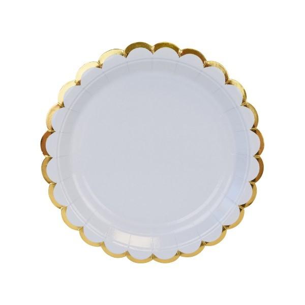 8f5ce735bbd Στρογγυλά Πιάτα Γλυκού Γαλάζιο Με Χρυσό (8pcs) | party alphabet